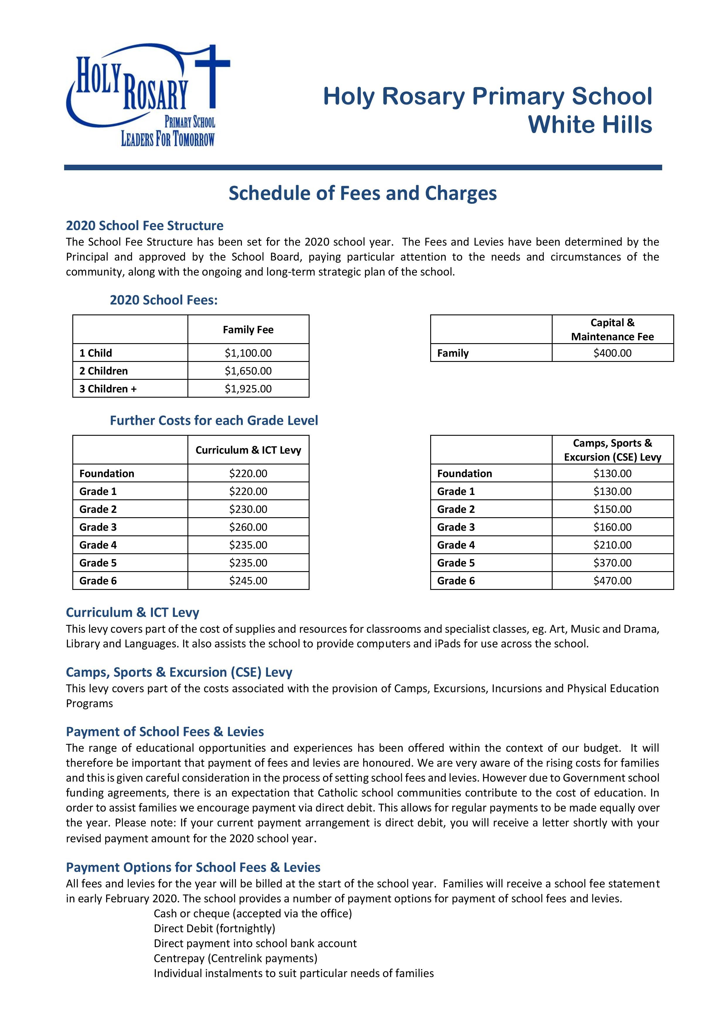 2020 Schedule of Fees Charges